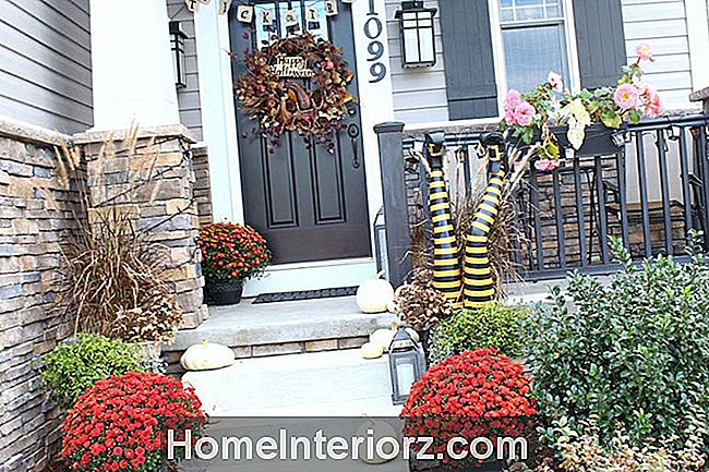 Fall Flowers Halloween Front Porch